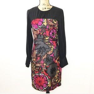 Trina Turk Silk Long Sleeve Dress